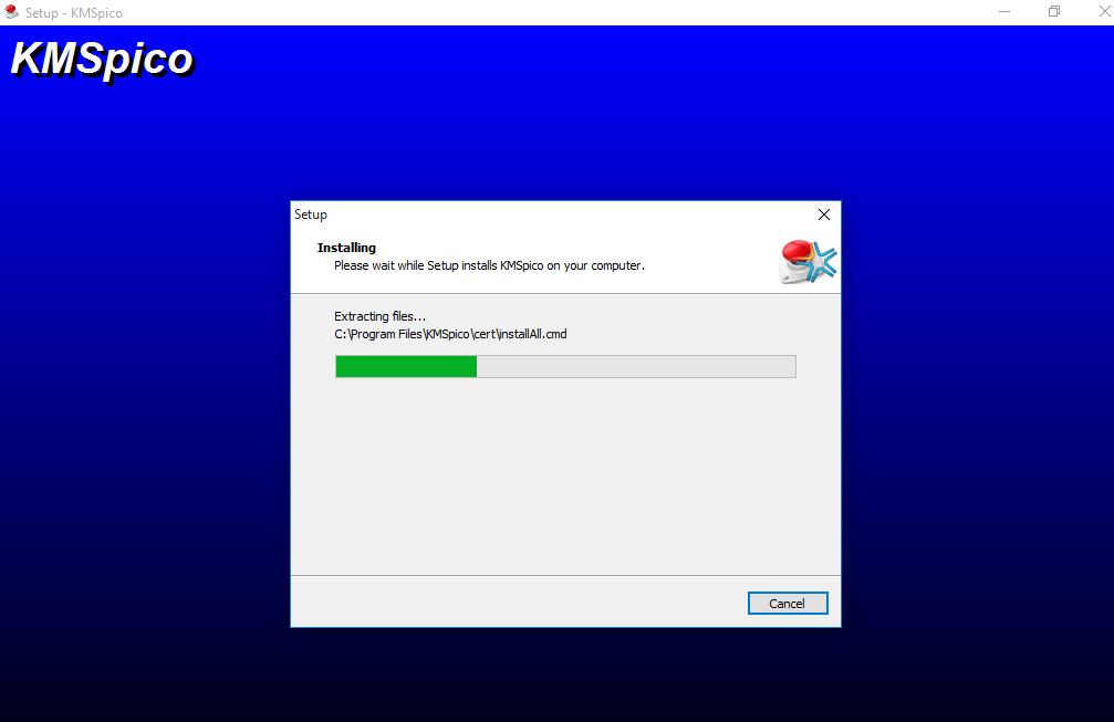 Bạn hãy chờ một chút phần mềm đang tiến hànhCrack cho office 2013